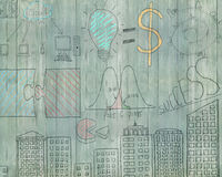 Business concept doodles on old green wooden wall Stock Photography