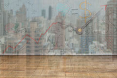 Business concept doodles on wooden wall. City buildings reflection background, 3D illustration Stock Image