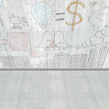 Business concept doodles on wooden wall Royalty Free Stock Images