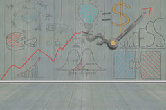 Business concept doodles on wooden wall Stock Photos
