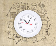 Business concept drawing around wall clock Stock Photos