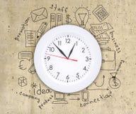Business concept drawing around wall clock Stock Photos