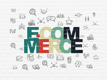 Business concept: E-commerce on wall background. Business concept: Painted multicolor text E-commerce on White Brick wall background with  Hand Drawn Business Stock Photos