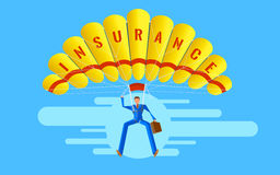 Business concept. Elegant Vector Character. Businessman people jumping on parachute. Of insurance Stock Photo