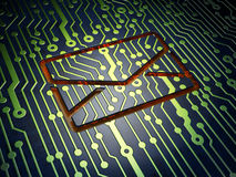 Business concept: Email on circuit board. Business concept: circuit board with Email icon, 3d render Stock Photos