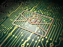 Business concept: Email on circuit board. Business concept: circuit board with Email icon, 3d render Stock Photo