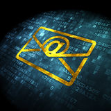Business concept: Email on digital background. Business concept: pixelated Email icon on digital background, 3d render Royalty Free Stock Photography