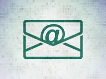 Business concept: Email on Digital Data Paper background. Business concept: Painted green Email icon on Digital Data Paper background Stock Photos