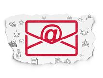 Business concept: Email on Torn Paper background. Business concept: Painted red Email icon on Torn Paper background with  Hand Drawn Business Icons Stock Photos