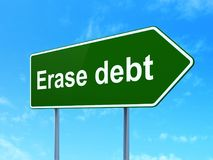 Business concept: Erase Debt on road sign background. Business concept: Erase Debt on green road highway sign, clear blue sky background, 3D rendering Royalty Free Stock Image