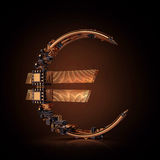 Business concept. Euro currency symbol of microchips  on black background. Royalty Free Stock Photos