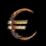 Business concept. Euro Currency Symbol of microchips isolated on black background. Royalty Free Stock Photo