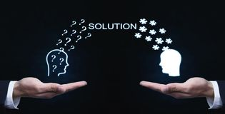 Business Concept. Exchanging question and puzzle solution. Stock Images