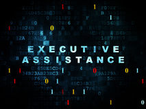 Business concept: Executive Assistance on Digital. Business concept: Pixelated blue text Executive Assistance on Digital wall background with Binary Code, 3d Royalty Free Stock Photography