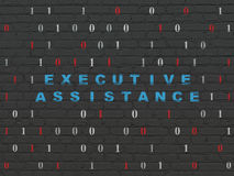 Business concept: Executive Assistance on wall. Business concept: Painted blue text Executive Assistance on Black Brick wall background with Binary Code, 3d Royalty Free Stock Images