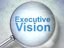 Business concept: executive vision with optical glass. Business concept: magnifying optical glass with words executive vision on digital background, 3d rendering Royalty Free Stock Photography