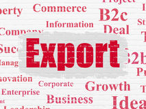 Business concept: Export on wall background. Business concept: Painted red text Export on White Brick wall background with  Tag Cloud Stock Photography