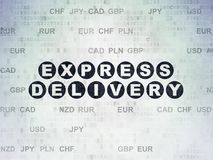 Business concept: Express Delivery on Digital Data Paper background. Business concept: Painted black text Express Delivery on Digital Data Paper background with Stock Photo