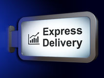 Business concept: Express Delivery and Growth Graph on billboard background Stock Photos