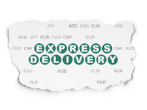 Business concept: Express Delivery on Torn Paper. Business concept: Painted green text Express Delivery on Torn Paper background with  Currency, 3d render Royalty Free Stock Photography