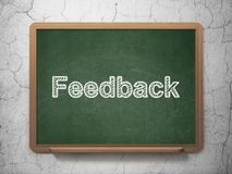 Business concept: Feedback on chalkboard background. Business concept: text Feedback on Green chalkboard on grunge wall background, 3D rendering Royalty Free Stock Photos