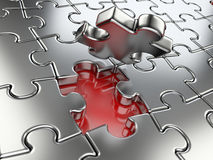 Business concept - final piece of jigsaw puzzle. High resolution 3d image Royalty Free Stock Photography