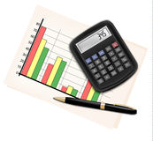 Business concept with finance graphs, electronic c. Alculator and black pen. Vector illustration Stock Images