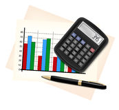 Business concept with finance graphs, electronic c Stock Image