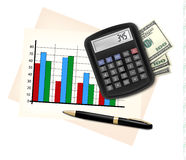 Business concept with finance graphs, electronic calculator Stock Photo