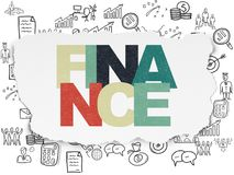 Business concept: Finance on Torn Paper background. Business concept: Painted multicolor text Finance on Torn Paper background with  Hand Drawn Business Icons Stock Photos
