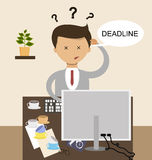 Business concept in flat design. The deadline and the work is not ready.. Vector Royalty Free Stock Image