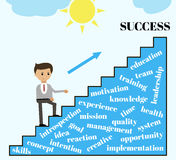 Business concept in flat design. Goes up on the ladder of success. Vector Royalty Free Stock Photo