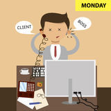 Business concept in flat design. Sitting in the office at the workplace. Start of the work week, Monday. Vector. Illustration Royalty Free Stock Image