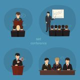 Business concept flat icons set of meeting Stock Photos