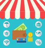 Business concept flat icons set of online shopping and payment i Royalty Free Stock Images