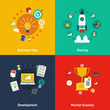 Business concept 4 flat icons square Stock Image