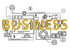 Business concept flat line design with icons and elements. Modern business concept s collection. Business concept lettering Royalty Free Stock Image