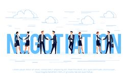 Business concept in a flat style with businessmen shake hands. Royalty Free Stock Images