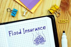 Business concept about Flood Insurance with sign on the sheet
