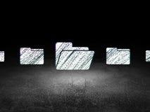 Business concept:  folder icon in grunge dark room. Business concept: row of Glowing folder icons around folder icon in grunge dark room Dirty Floor, dark Stock Image