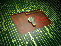 Business concept: Folder With Keyhole on circuit. Business concept: circuit board with Folder With Keyhole icon, 3d render Stock Images