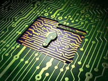 Business concept: Folder With Keyhole on circuit board background Royalty Free Stock Images
