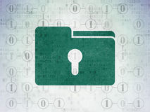 Business concept: Folder With Keyhole on Digital Data Paper background. Business concept: Painted green Folder With Keyhole icon on Digital Data Paper background Stock Photography