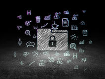 Business concept: Folder With Lock in grunge dark Stock Image