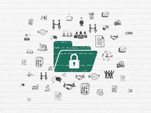 Business concept: Folder With Lock on wall background. Business concept: Painted green Folder With Lock icon on White Brick wall background with  Hand Drawn Stock Images