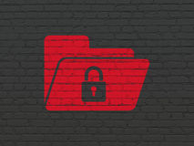 Business concept: Folder With Lock on wall background Royalty Free Stock Photography