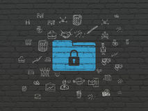Business concept: Folder With Lock on wall. Business concept: Painted blue Folder With Lock icon on Black Brick wall background with  Hand Drawn Business Icons Stock Photo