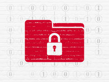 Business concept: Folder With Lock on wall. Business concept: Painted red Folder With Lock icon on White Brick wall background with Scheme Of Binary Code, 3d Royalty Free Stock Photography