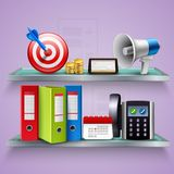 Business Realistic Concept. Business concept with folders planner calendar speaker coins phone on shelves realistic vector illustration Stock Photo