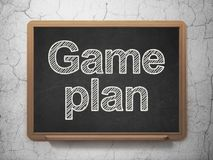 Business concept: Game Plan on chalkboard background. Business concept: text Game Plan on Black chalkboard on grunge wall background, 3D rendering Royalty Free Stock Photography